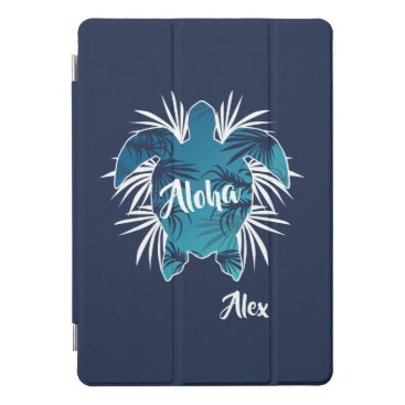 Hawaiian Themed Monogram. Aloha. Tropical. Turtle. iPad Pro Cover