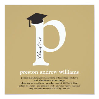 Monogram Alphabet Graduate Graduation Photo Party Card