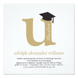 Monogram Alphabet Graduate Graduation Photo Party Card