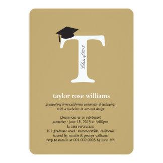 Monogram Alphabet Graduate Graduation Photo Party 5x7 Paper Invitation Card