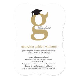 Monogram Alphabet Graduate Graduation Photo Party Custom Invite