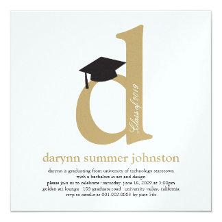 Monogram Alphabet Graduate Graduation Photo Party 5.25x5.25 Square Paper Invitation Card