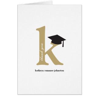Monogram Alphabet Graduation Photo Thank You Card
