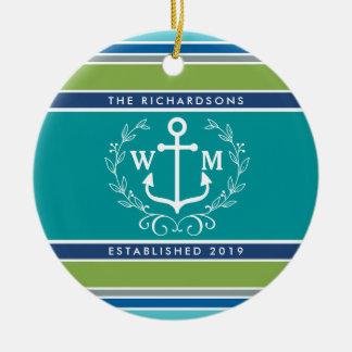 Monogram Anchor Laurel Wreath Stripes Aqua Ceramic Ornament