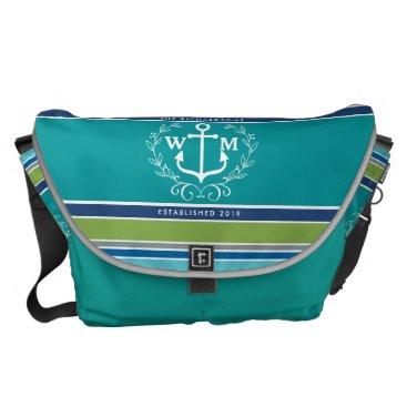 Beach Themed Monogram Anchor Laurel Wreath Stripes Aqua Courier Bag