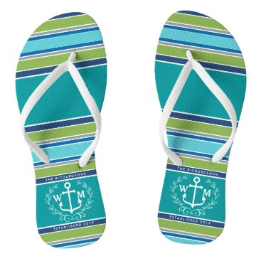 Beach Themed Monogram Anchor Laurel Wreath Stripes Aqua Flip Flops