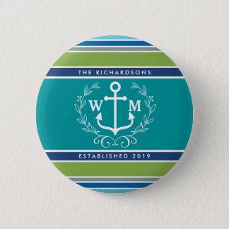 Monogram Anchor Laurel Wreath Stripes Nautical Button