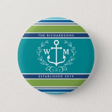 Beach Themed Monogram Anchor Laurel Wreath Stripes Nautical Button