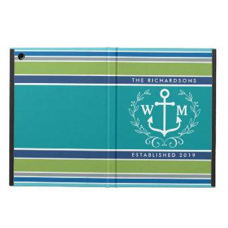 Monogram Anchor Laurel Wreath Stripes Nautical Cover For iPad Air