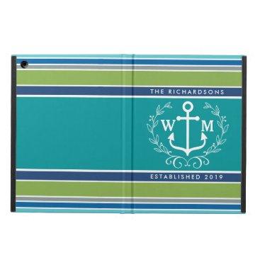 Beach Themed Monogram Anchor Laurel Wreath Stripes Nautical Cover For iPad Air