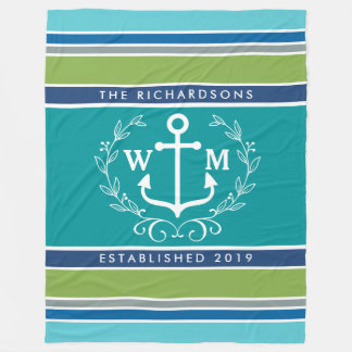 Monogram Anchor Laurel Wreath Stripes Nautical Fleece Blanket