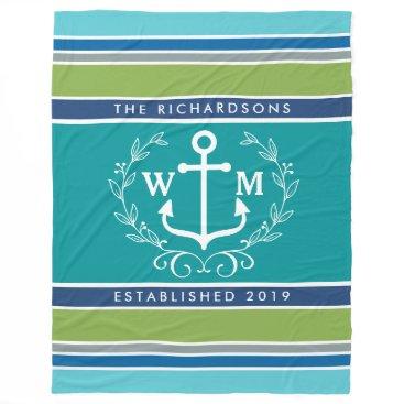 Beach Themed Monogram Anchor Laurel Wreath Stripes Nautical Fleece Blanket