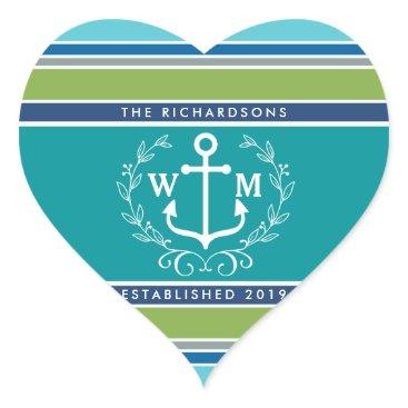 Beach Themed Monogram Anchor Laurel Wreath Stripes Nautical Heart Sticker