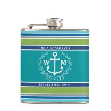 Beach Themed Monogram Anchor Laurel Wreath Stripes Nautical Hip Flask