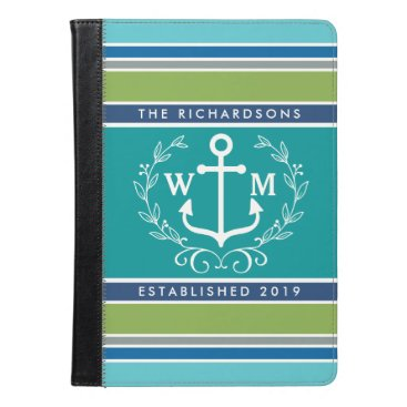 Beach Themed Monogram Anchor Laurel Wreath Stripes Nautical iPad Air Case