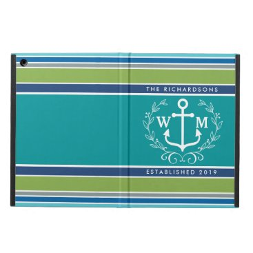 Beach Themed Monogram Anchor Laurel Wreath Stripes Nautical iPad Air Cover