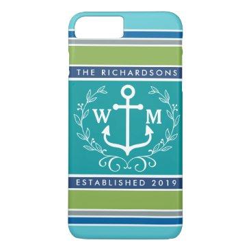 Beach Themed Monogram Anchor Laurel Wreath Stripes Nautical iPhone 8 Plus/7 Plus Case