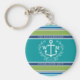 Monogram Anchor Laurel Wreath Stripes Nautical Keychain
