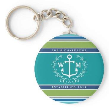 Beach Themed Monogram Anchor Laurel Wreath Stripes Nautical Keychain
