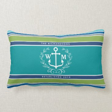 Beach Themed Monogram Anchor Laurel Wreath Stripes Nautical Lumbar Pillow