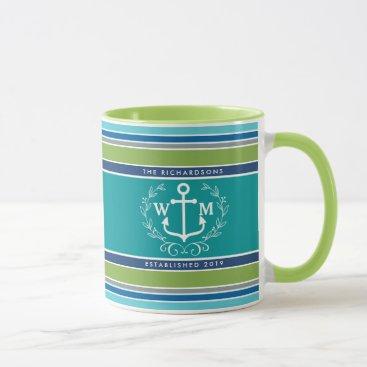 Beach Themed Monogram Anchor Laurel Wreath Stripes Nautical Mug