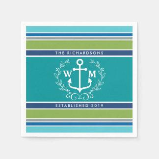 Monogram Anchor Laurel Wreath Stripes Nautical Paper Napkin
