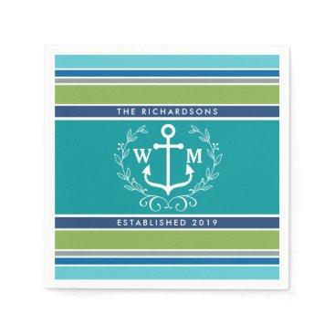 Beach Themed Monogram Anchor Laurel Wreath Stripes Nautical Paper Napkin