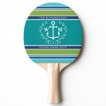 Beach Themed Monogram Anchor Laurel Wreath Stripes Nautical Ping-Pong Paddle