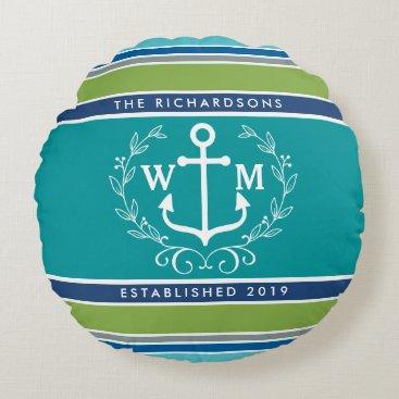 Beach Themed Monogram Anchor Laurel Wreath Stripes Nautical Round Pillow