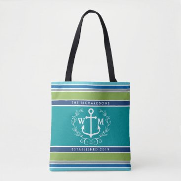 Beach Themed Monogram Anchor Laurel Wreath Stripes Nautical Tote Bag