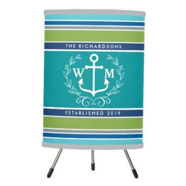 Beach Themed Monogram Anchor Laurel Wreath Stripes Nautical Tripod Lamp