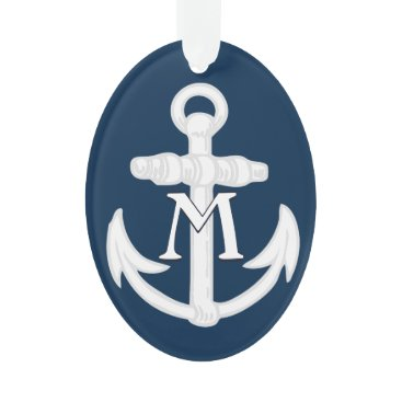 Beach Themed Monogram Anchor Nautical Blue/White Symbol Ornament