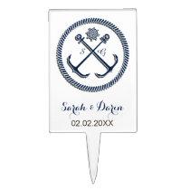 Monogram anchor, nautical cake picks