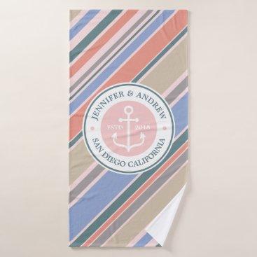 Beach Themed Monogram Anchor Nautical Wedding Blush Pink Stripe Bath Towel