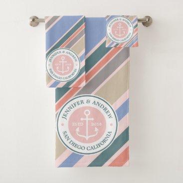 Beach Themed Monogram Anchor Nautical Wedding Blush Pink Stripe Bath Towel Set