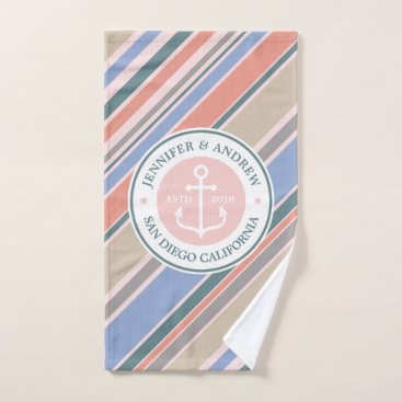Beach Themed Monogram Anchor Nautical Wedding Blush Pink Stripe Hand Towel