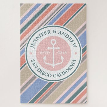 Beach Themed Monogram Anchor Nautical Wedding Blush Pink Stripe Jigsaw Puzzle