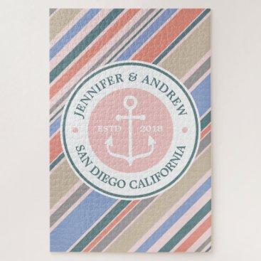 Beach Themed Monogram Anchor Nautical Wedding Blush Pink Stripe Jigsaw Puzzle