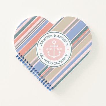 Beach Themed Monogram Anchor Nautical Wedding Blush Pink Stripe Notebook