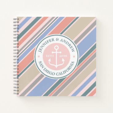 Beach Themed Monogram Anchor Nautical Wedding Blush Pink Stripe Notebook
