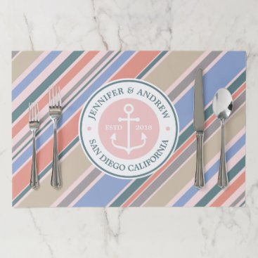 Beach Themed Monogram Anchor Nautical Wedding Blush Pink Stripe Paper Placemat