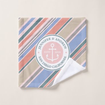 Beach Themed Monogram Anchor Nautical Wedding Blush Pink Stripe Wash Cloth