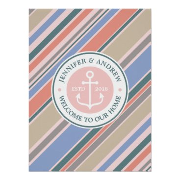 Beach Themed Monogram Anchor Trendy Stripes Dusty Pink Nautical Poster