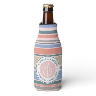 Beach Themed Monogram Anchor Trendy Stripes Pink Nautical Beach Bottle Cooler