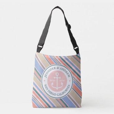 Beach Themed Monogram Anchor Trendy Stripes Pink Nautical Beach Crossbody Bag