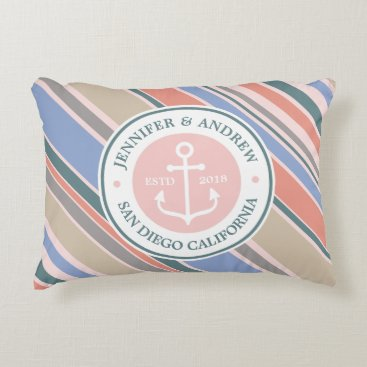 Beach Themed Monogram Anchor Trendy Stripes Pink Nautical Beach Decorative Pillow