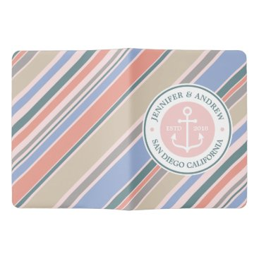 Beach Themed Monogram Anchor Trendy Stripes Pink Nautical Beach Extra Large Moleskine Notebook