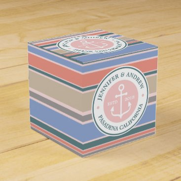 Beach Themed Monogram Anchor Trendy Stripes Pink Nautical Beach Favor Box