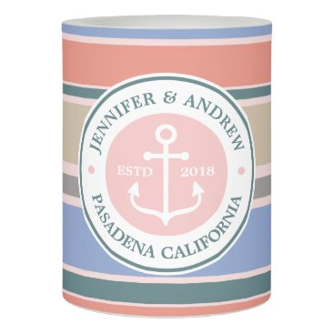 Beach Themed Monogram Anchor Trendy Stripes Pink Nautical Beach Flameless Candle