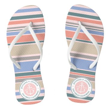 Beach Themed Monogram Anchor Trendy Stripes Pink Nautical Beach Flip Flops